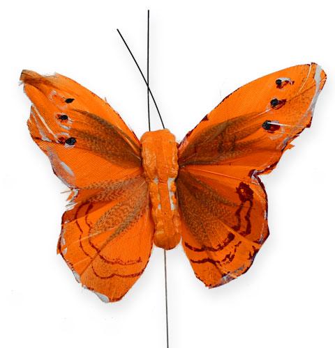 deko schmetterling am draht orange 8cm 12st gro handel und lagerverkauf. Black Bedroom Furniture Sets. Home Design Ideas