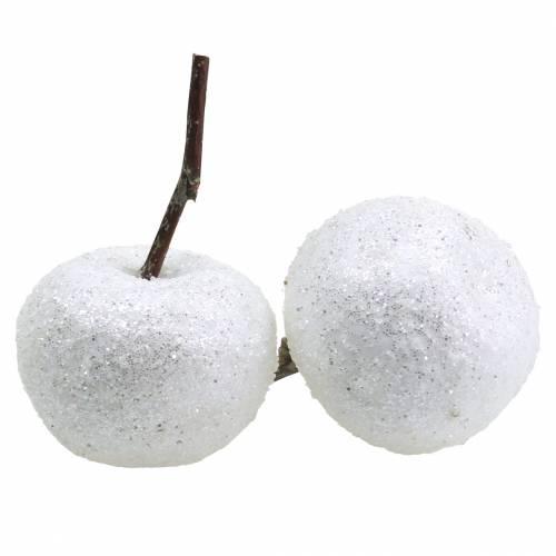 Deko-Äpfel Weiß mit Glitzer 5,5–6,5cm 12St