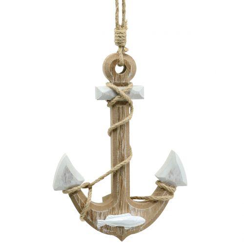 Maritime Deko Holz-Leuchtturm Shabby-Look ca 46 x 9 x 4 cm