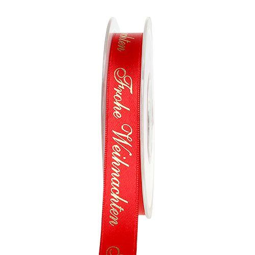 Band mit Spruch Frohe Weihnachten 15mm 20m