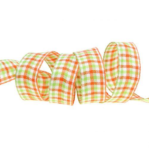 Karoband Grün/Orange 25mm 15m