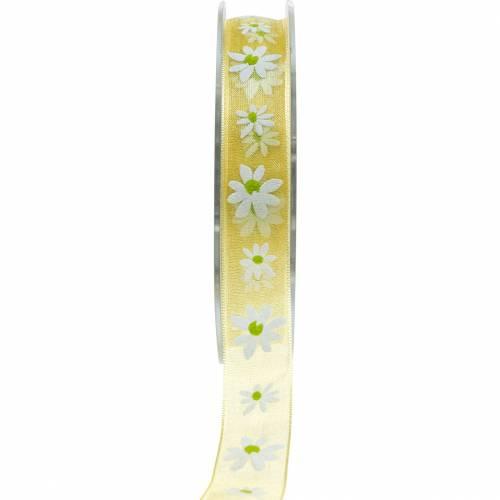 Organzaband Gelb Blümchen 15mm Stoffband Dekorband Sommerdeko 20m
