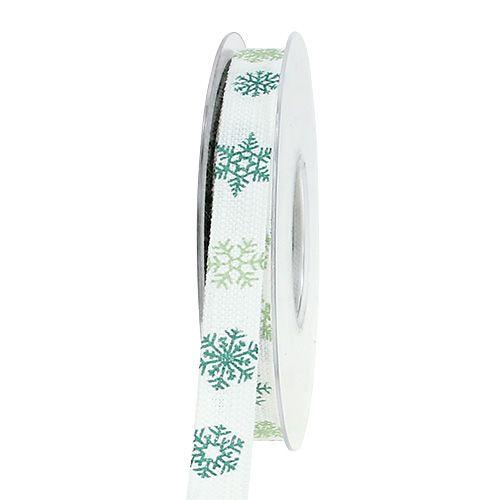 Dekorationsband mit Schneeflocken Weiß, Grün 15mm 15m