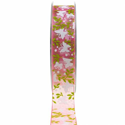 Organzaband Schmetterling 25mm Rosa Dekoband Geschenkband 20m