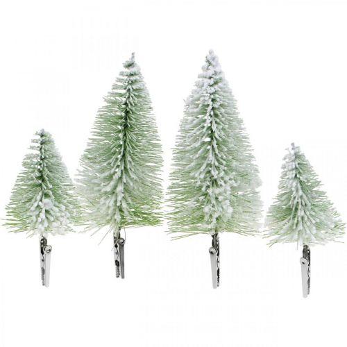 Weihnachtsdeko Tannenbaum beschneit Klammer Grün H13/19cm 4St