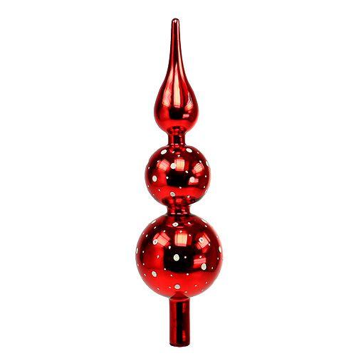 Baumspitze Glas mit Punkten Rot 30cm