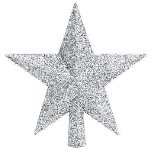Baumspitze Silber Glimmer Ø2,2cm 19,5cm x 20cm