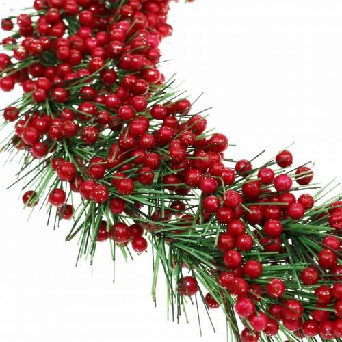 Beerenkranz künstlich Grün, Rot Beglittert Ø25cm