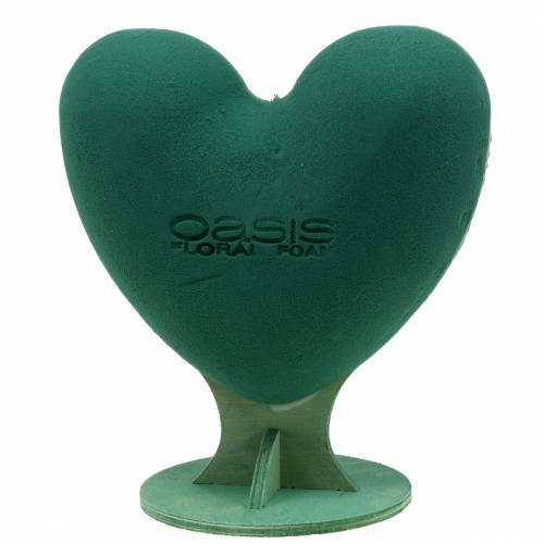 Steckschaum 3D Herz mit Fuß Steckmasse Grün 30cm x 28cm