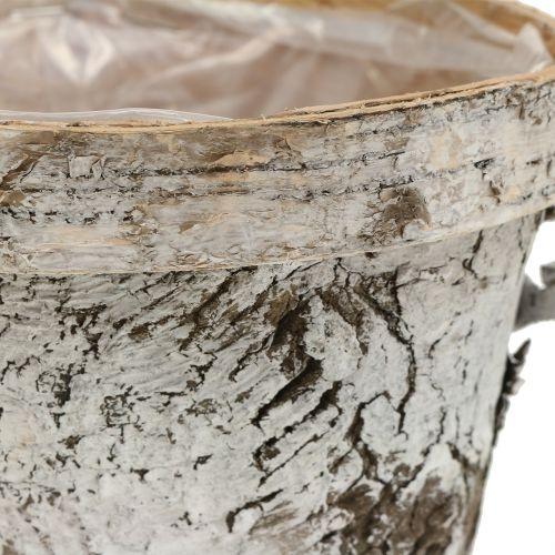Birkentopf mit Rand mittel Ø16cm H13cm Weiß