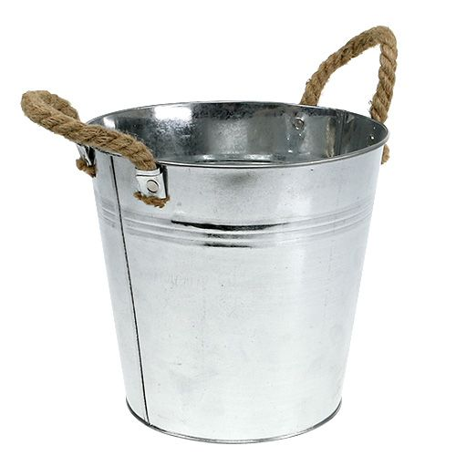 Blecheimer mit Seilgriffen glänzend Ø22cm