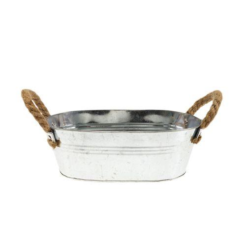 Blechschale mit Seilgriffen Silber 22cm H10cm