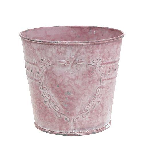 Blechtopf Rosa gewaschen verziert Ø14cm H12,5cm