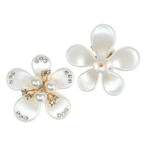 Blüte mit Perlen in Creme Ø4cm 8St