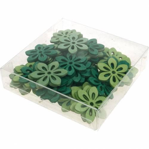 Streublumen Grün, Frühlingsdeko, Holzblüten zum Streuen, Tischdeko 72St
