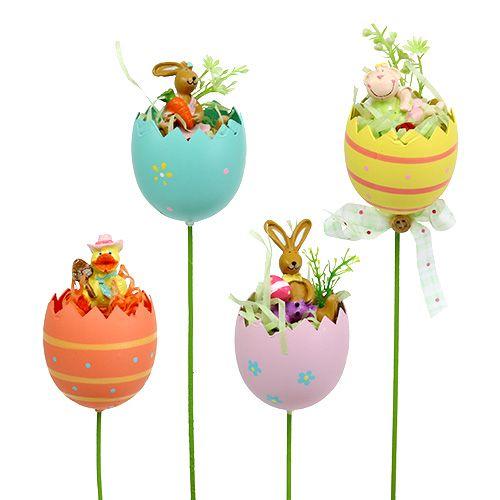 Blumenstecker Ei mit Tier sort. 8cm L30cm 4St