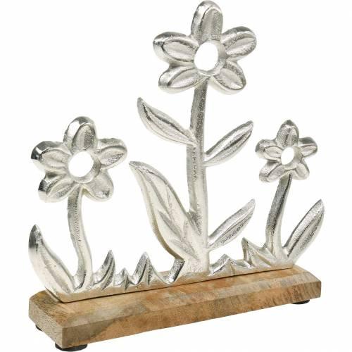 Frühlingsdeko Blumenwiese Sockel Mangoholz Aufsteller Tischdeko