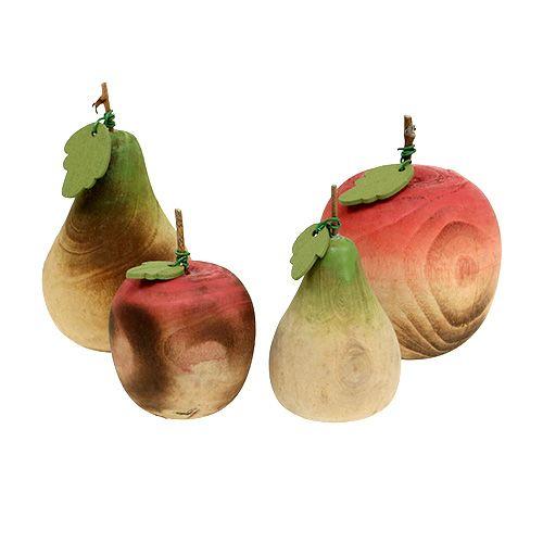 Birne und Apfel aus Holz Sortiment 6,5cm-8,5cm 4St