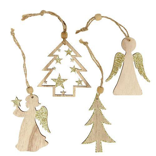 Weihnachtshänger sort. 10cm mit Glitter 12St