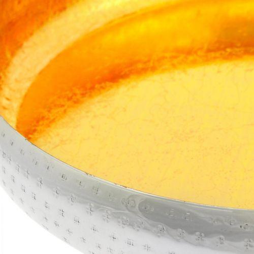 Dekoschale Metall rund Goldenes & silbernes Tablett Ø36,5cm