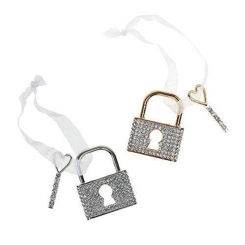 Anhänger Schloss mit Schlüssel 5cm Gold/Silber 2St