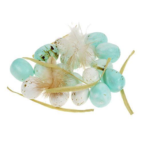 Deko-Eier gesprenkelt Mint Weiß 2,5-3cm 72St