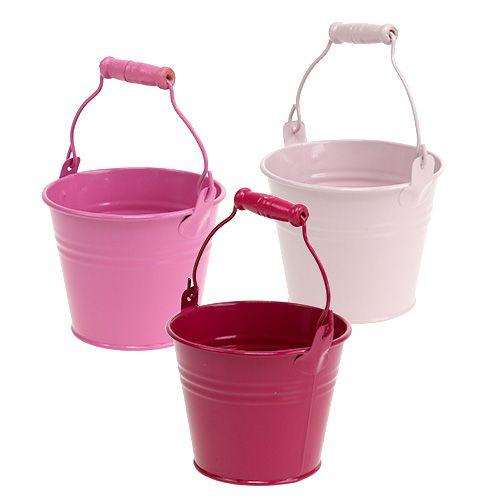 Deko-Eimer aus Blech Pink, Rosa Ø10cm 10St