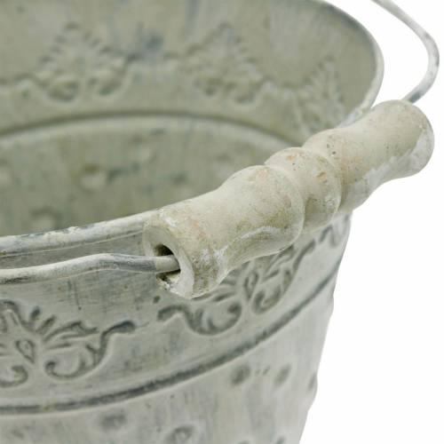 Deko-Eimer Pflanzgefäß gepunktet Metall Grün Ø15,5cm Weiß gewaschen