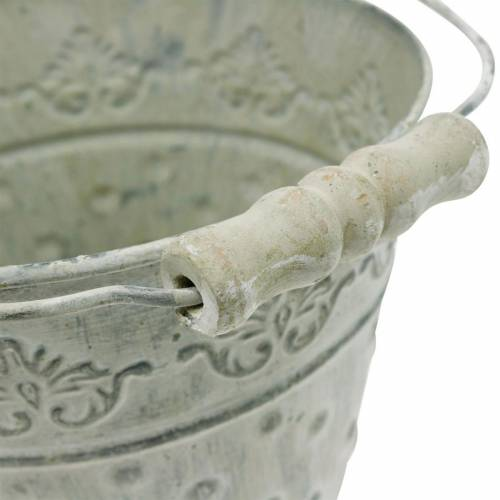 Deko-Eimer Weiß gewaschen mit Henkel Ø20,5cm Pflanzkübel Metalldeko