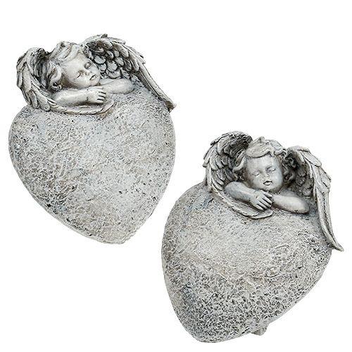 Deko Herz mit Engel Grau 10,5cm 2St