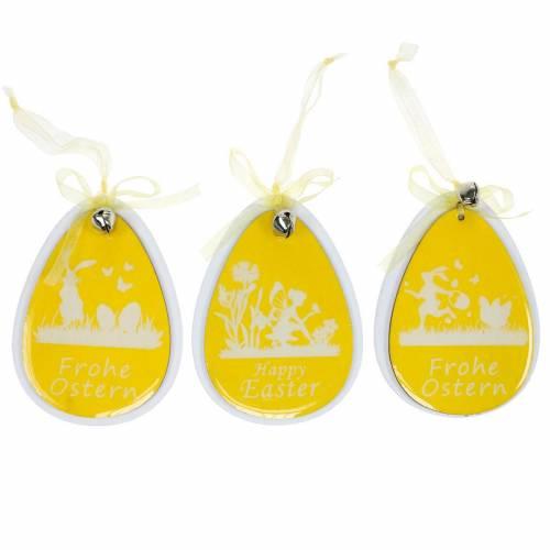 Deko-Ostereier zum Hängen Weiß, Gelb Holz Osterdeko Frühlingsdeko 6St