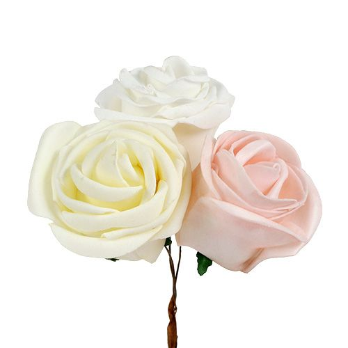 Deko-Rose Mix Weiß, Rosa, Creme Ø7,5cm 12St