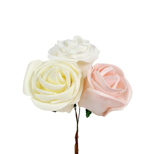 Deko Rose Weiß, Creme, Rosa Mix Ø6cm 24St