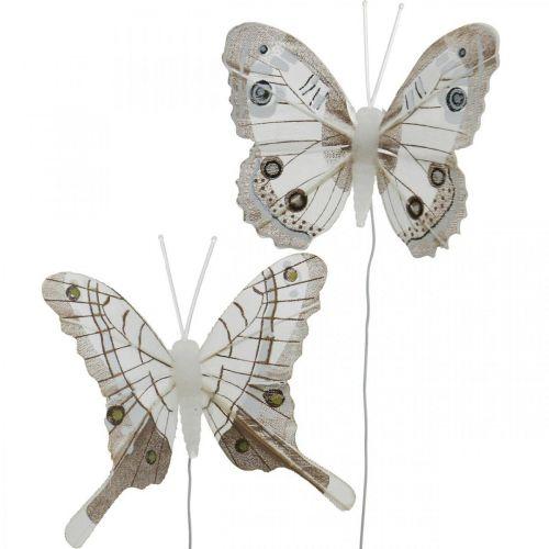 Deko-Schmetterlinge Weiß, Braun Federschmetterling am Draht 7,5cm 6St
