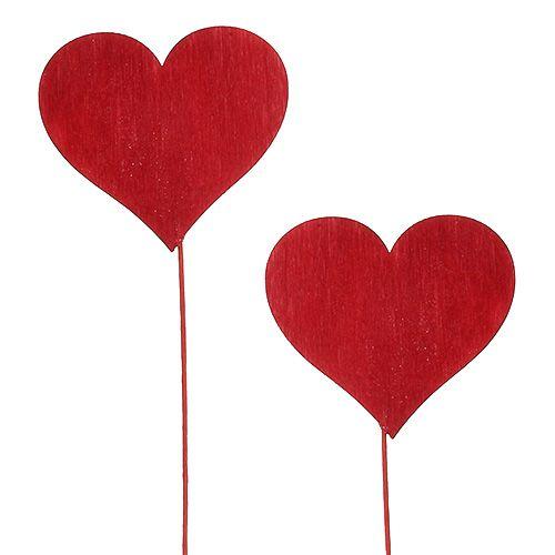 Deko Stecker Herzform Rot 5,5cm L28cm 24St
