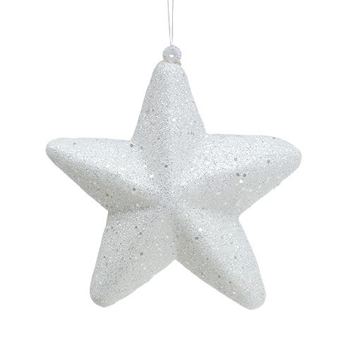 Stern Weiß mit Glitter 11,5cm