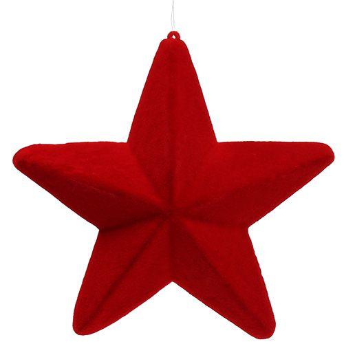 Deko Stern Rot beflockt 20cm