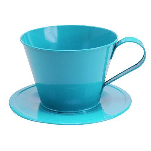 Metall-Tasse mit Teller Blau Ø16cm H11cm