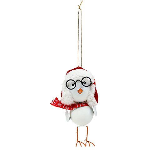 Deko Vogel mit Mütze Rot-Weiß 10,5cm