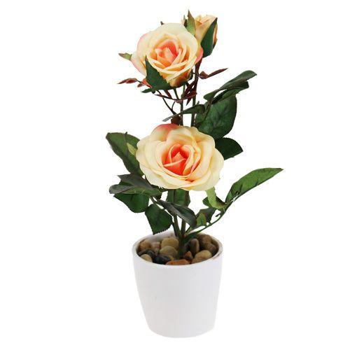 Deko-Rose im Topf Lachs 23cm