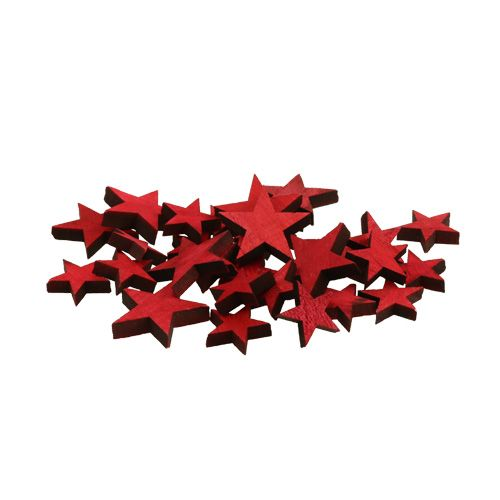 Streudeko Holzsterne rot 3-5cm 72St