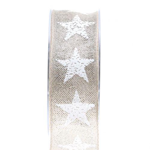 Weihnachtsband mit Sternmuster Natur, Silber 40mm 15m