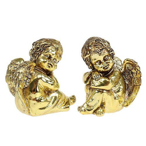 Deko-Engel sitzend Gold, glänzend 9cm 4St