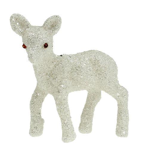 Deko-Reh 7cm weiß mit Glitter 6St