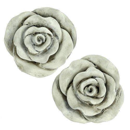 Deko Rose Grau 10cm 2St