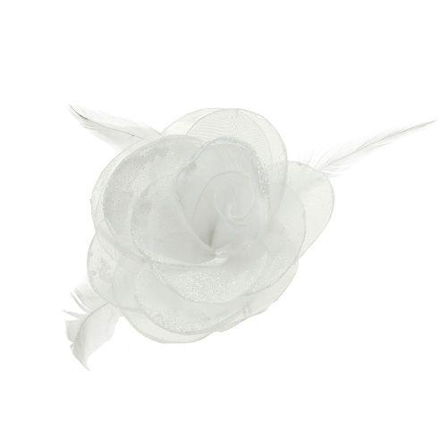 Deko-Rose mit Federn am Clip weiß 2St