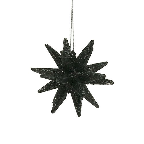 Deko Sterne Schwarz Glimmer 7,5cm 8St