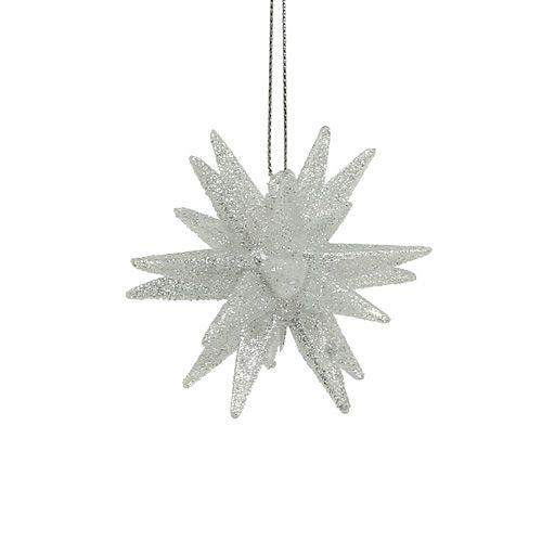 Deko Sterne mit Glimmer 7,5cm silber 8St