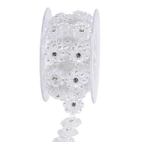 Dekoband Hochzeitsdeko mit Blüte Ø1,4mm Weiß 180cm