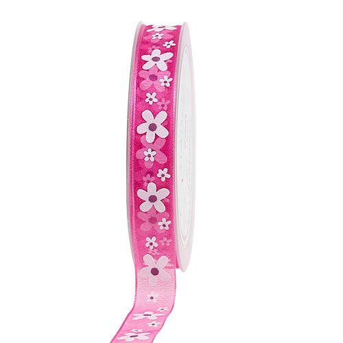 Dekoband Pink mit Blumenmotiv 15mm 20m